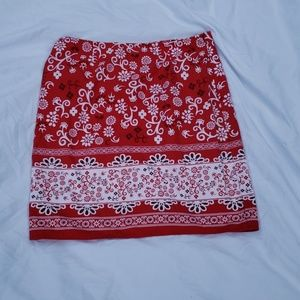 Red, floral, skirt